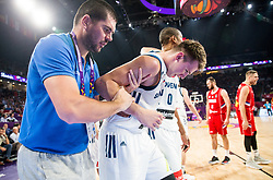 Luka Doncic of Slovenia injured his left leg during the Final basketball match between National Teams  Slovenia and Serbia at Day 18 of the FIBA EuroBasket 2017 at Sinan Erdem Dome in Istanbul, Turkey on September 17, 2017. Photo by Vid Ponikvar / Sportida