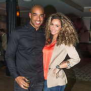 NLD/Bussum/20140411 - Feest Mark Teurlings April 2014, Fajah Lourens en partner Melvin van den Berg