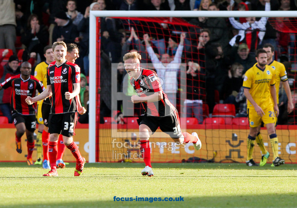 Picture by Tom Smith/Focus Images Ltd 07545141164<br /> 30/11/2013<br /> Matt Ritchie (centre) of Bournemouth celebrates scoring the first goal during the Sky Bet Championship match at the Seward Stadium, Bournemouth.