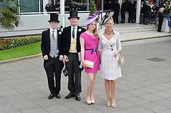 Left to right, the the HON.OLIVER STANLEY, the EARL OF DERBY, LADY HENRIETTA STANLEY and the COUNTESS OF DERBY at the Investec Derby at Epsom Racecourse, Epsom, Surrey on 4th June 2016.