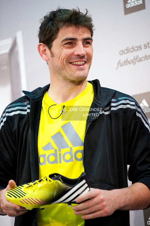 Iker Casillas presents his new gloves and boots Adidas Predator at Adidas Store on April 25, 2013 in Madrid