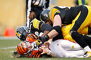 PITTSBURGH, PA - DECEMBER 4: James Harrison #92 of the Pittsburgh Steelers sacks Andy Dalton #14 of the Cincinnati Bengals at Heinz Field on December 4, 2011 in Pittsburgh, Pennsylvania. The Steelers defeated the Bengals 35-7. (Photo by Joe Robbins) *** Local Caption *** James Harrison;Andy Dalton