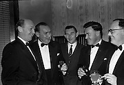 26/01/1963<br /> 01/26/1963<br /> 26 January 1963<br /> Rochestown P.P.U. Annual Dinner at Powers Hotel, Dublin. Chatting before the Past Pupils Union dinner were (l-r): Michael Harrington; Denis O'Riordan; Frank Shanahan; John Murphy and Michael Kelly.