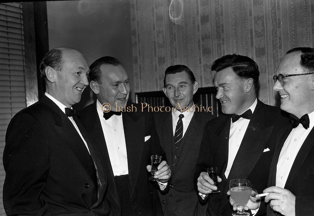 26/01/1963<br /> 01/26/1963<br /> 26 January 1963<br /> Rochestown P.P.U. Annual Dinner at Powers Hotel, Dublin. Chatting before the Past Pupils Union dinner were (l-r): Michael Harrington; Denis O'Riordan; Frank Shanahan; John Murphy and Michael Kelly.