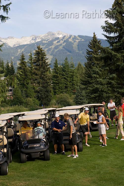 The start of a shotgun golf tournament on the Whistler Golf Course, Whistler, BC Canada