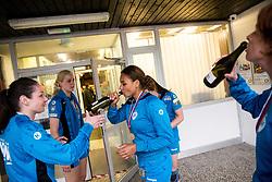 Elizabeth Omoregie of RK Krim Mercator celebrates after the handball match between RK Krim Mercator and ZRK Z'Dezele Celje in Last Round of Slovenian National Championship 2016/17, on April 18, 2017 in Arena Galjevica, Ljubljana, Slovenia. Photo by Vid Ponikvar / Sportida
