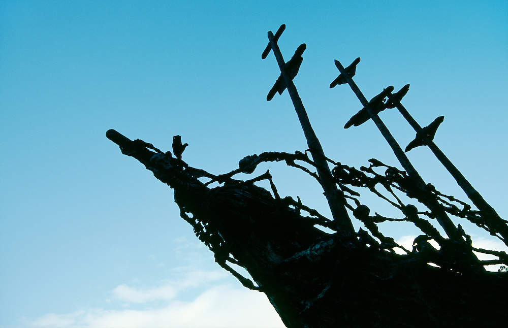 """The Coffin Ship"" by John Behan. Irish Famine emigrant memorial sculpture with skeletons at Clew Bay near Westport, County Mayo."