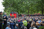 Speeches and FLA supporters during the Football Lads Alliance march between Park Lane and Westminster Bridge, London on 7 October 2017. Photo by Phil Duncan.