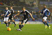 Brentford striker Lasse Vibe shoots during the Sky Bet Championship match between Birmingham City and Brentford at St Andrews, Birmingham, England on 2 January 2016. Photo by Alan Franklin.