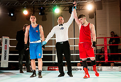 Jovan Stojanovic of Serbia (BLUE) and Edin Sejdinovic of Slovenia (RED) in Elite 69 kg Category during Dejan Zavec Boxing Gala event in Laško, on April 21, 2017 in Thermana Lasko, Slovenia. Photo by Vid Ponikvar / Sportida