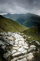 The lower portion of the walking trail up to Ben Nevis, the highest peak (Munro) in Scotland at 1344 meters
