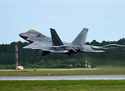 An F-22 Raptor from the 95th Fighter Squadron retracts its landing gear during takeoff at Tyndall Air Force Base, Fla., June 14, 2018. (U.S. Air Force photo by Airman 1st Class Isaiah J. Soliz)