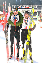 22.01.2011, Loipe Obertilliach, Obertilliach, AUT, 10. Dolomiten Classicrace, im Bild Rezac Stanislav (CZE) und  Sutter Martin (AUT)// EXPA Pictures © 2011, PhotoCredit: EXPA/ M. Gruber
