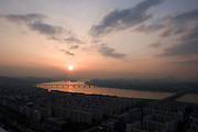 Sunset over Han River. DLI 63 building (tallest), Dongjak Bridge in foreground.