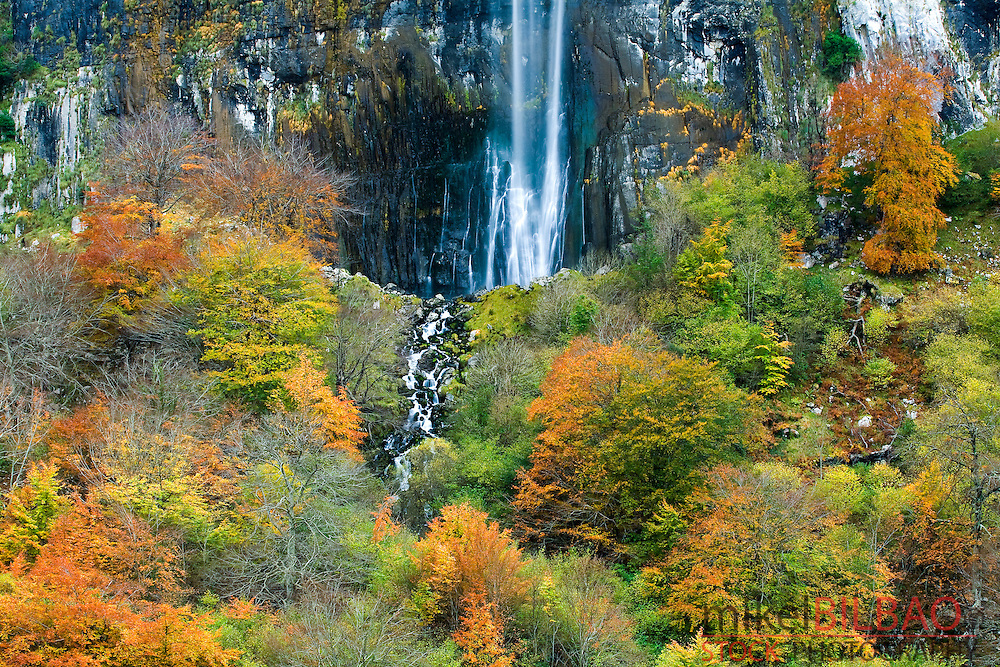 Waterfall in Ason river source. Collados del Ason Natural Park. Cantabria, Spain.