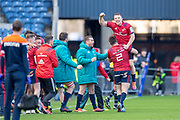 Andrew Conway (#15) of Munster Rugby is lifted by Niall Scannell (#2) of Munster Rugby at the final whistle of the Heineken Champions Cup quarter-final match between Edinburgh Rugby and Munster Rugby at BT Murrayfield Stadium, Edinburgh, Scotland on 30 March 2019.