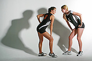 "Jessie Jakes, Sr. Orangewood Christian (left) and Rachel Stacy, Jr. Timbercreek High School, Volleyball players ""trash talking"" illustration, Orlando, Monday, October, 1, 2007.  (Roberto Gonzalez/Orlando Sentinel)"