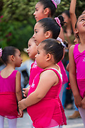 Young girls perform a ballet at the Plaza Principal in Dolores Hidalgo, Guanajuato, Mexico. Miguel Hildago was a parish priest who issued the now world famous Grito - a call to arms for Mexican independence from Spain.