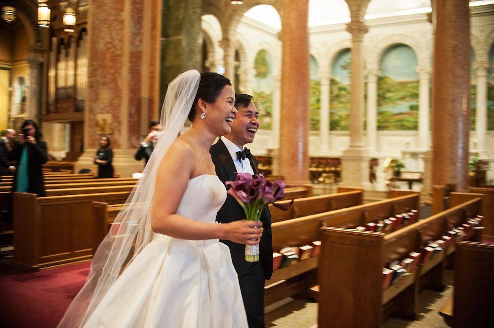 Photo by Matt Roth.Assignment ID: 10137951A..Caroline Trang Nguyen and Daniel Tran Gien are married at The Cathedral of St. Matthew the Apostle in Washington, D.C. on Saturday, February 02, 2013.