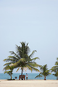 Belize, Central America - Friends chat around a bench under a palm tree looking out at the caribbean in Placencia