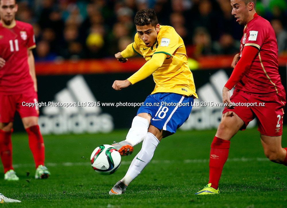Brazil's Andreas Pereira shoots and scores Brazil's goal during the FIFA U20 World Cup Final, Serbia v Brazil, QBE Stadium, Auckland, Saturday 20th June 2015. Copyright Photo: Shane Wenzlick / www.photosport.nz
