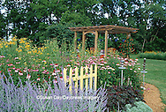 63821-150.18 Landscape with island flower beds, deck, bird feeders, Marion Co. IL