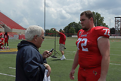 01 August 2017:   Garrett Hirsch interviewed by Steve Robinson during 2017 Illinois State Redbirds Football Media Day at Hancock Stadium in Normal IL (Photo by Alan Look)