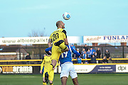 Southport FC Defender on loan from York City Jack Higgins clears the ball during the Vanarama National League match between Southport and Eastleigh at the Merseyrail Community Stadium, Southport, United Kingdom on 17 December 2016. Photo by Pete Burns.
