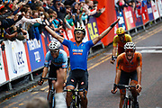 Arrival Men Road Race 230,4 km, Matteo Trentin (Italy) winner, Mathieu Van Der Poel (Netherlands), Wout Van Aert (Belgium), Davide Cimolai (Italy), during the Cycling European Championships Glasgow 2018, in Glasgow City Centre and metropolitan areas, Great Britain, Day 11, on August 12, 2018 - Photo Luca Bettini / BettiniPhoto / ProSportsImages / DPPI - Belgium out, Spain out, Italy out, Netherlands out -