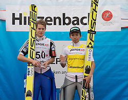 27.09.2015, Energie AG Skisprung Arena, Hinzenbach, AUT, FIS Ski Sprung, Sommer Grand Prix, Hinzenbach, im Bild Siegerpodest Sommer Grand Pix Gesamtwertung v.l. Kenneth Gagnes (NOR, 2.Platz), Kento Sakuyama (JPN, 1.Platz) // during FIS Ski Jumping Summer Grand Prix at the Energie AG Skisprung Arena, Hinzenbach, Austria on 2015/09/27. EXPA Pictures © 2015, PhotoCredit: EXPA/ Reinhard Eisenbauer