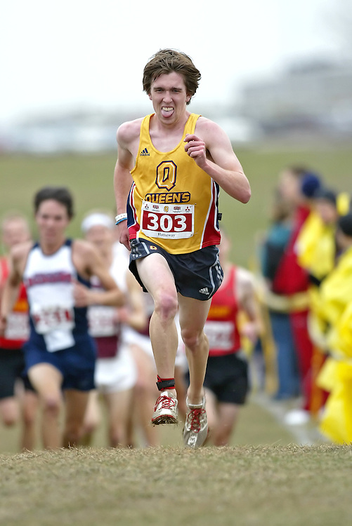 (Kingston, Ontario -- 14 Nov 2009)  OLIVER HATHEWAY of the Queen's University runs to 56 place at the  2009 Canadian Interuniversity Sport CIS Cross Country Championships at Forth Henry Hill in Kingston Ontario. Photograph copyright Sean Burges / Mundo Sport Images, 2009.