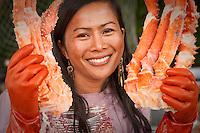 Woman selling King Crab, Creek Street, Ketchikan, Alaska