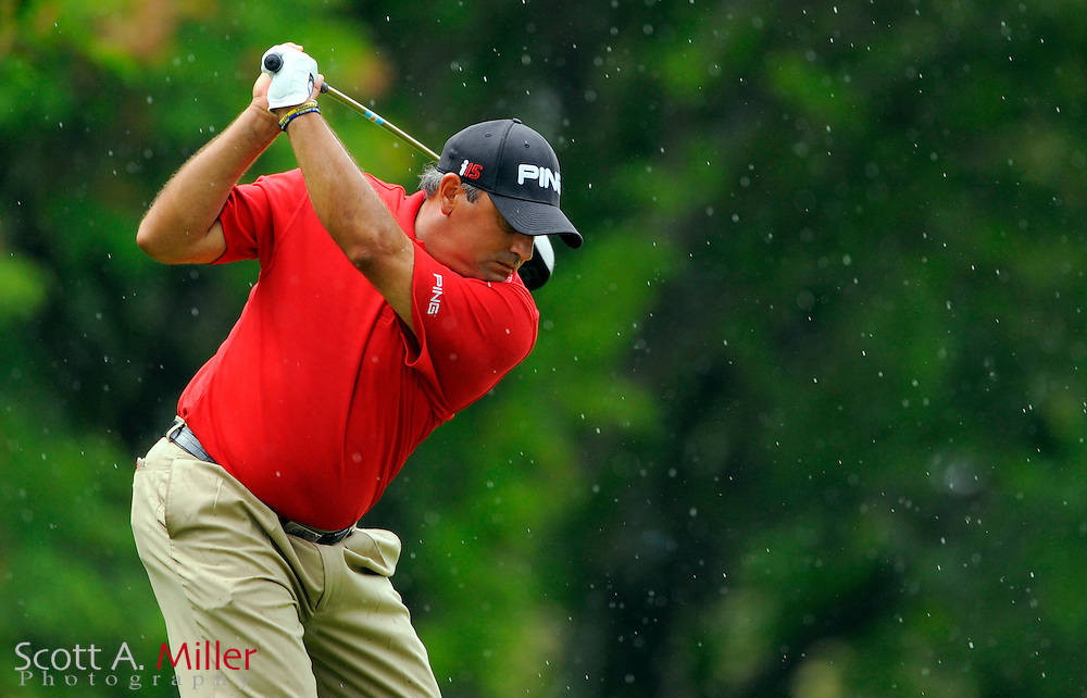 Aug 13, 2009; Chaska, MN, USA; Angel Cabrera (ARG) tees off on the ninth hole during the first round of the 2009 PGA Championship at Hazeltine National Golf Club.  ©2009 Scott A. Miller