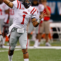 Sep 11, 2010; New Orleans, LA, USA;Mississippi Rebels quarterback Randall Mackey (1) on the field during warm ups before a game against the Tulane Green Wave at the Louisiana Superdome. The Mississippi Rebels defeated the Tulane Green Wave 27-13.  Mandatory Credit: Derick E. Hingle