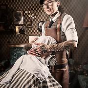 Joanna Mroczek på Stüffe's Barber i Falun. Fotograferat för Företagaren / Spoon Agency. Photo © Daniel Roos