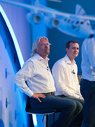 © London News Pictures. 11/07/2012. Farnborough, UK. Sir Richard Branson at a press conference at Farnborough Airshow for the UK unveiling of new Virgin Galactic aircraft and spacecraft products on July 11, 2012.  FIA is a seven-day international trade fair for the aerospace industry which is held every two years at Farnborough Airport . Photo credit: Ben Cawthra/LNP.