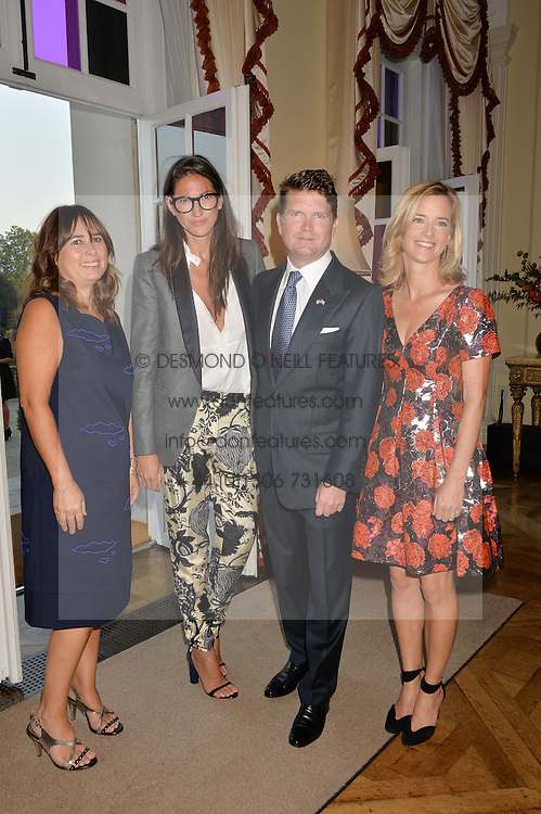 Left to right, ALEXANDRA SHULMAN, JENNA LYONS J. Crew's creative director, MATTHEW BARZUM and BROOKE BARZUN at a party hosed by the US Ambassador to the UK Matthew Barzun, his wife Brooke Barzun and editor of UK Vogue Alexandra Shulman in association with J Crew to celebrate London Fashion Week held at Winfield House, Regent's Park, London on 16th September 2014.
