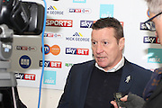 Chesterfield FC Manager Danny Wilson talking to the press after the EFL Sky Bet League 1 match between Peterborough United and Chesterfield at London Road, Peterborough, England on 10 December 2016. Photo by Nigel Cole.