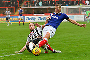 Dean Moxey (21) of Exeter City is tackled by Ben Davies (2) of Grimsby Town during the EFL Sky Bet League 2 match between Exeter City and Grimsby Town FC at St James' Park, Exeter, England on 11 November 2017. Photo by Graham Hunt.
