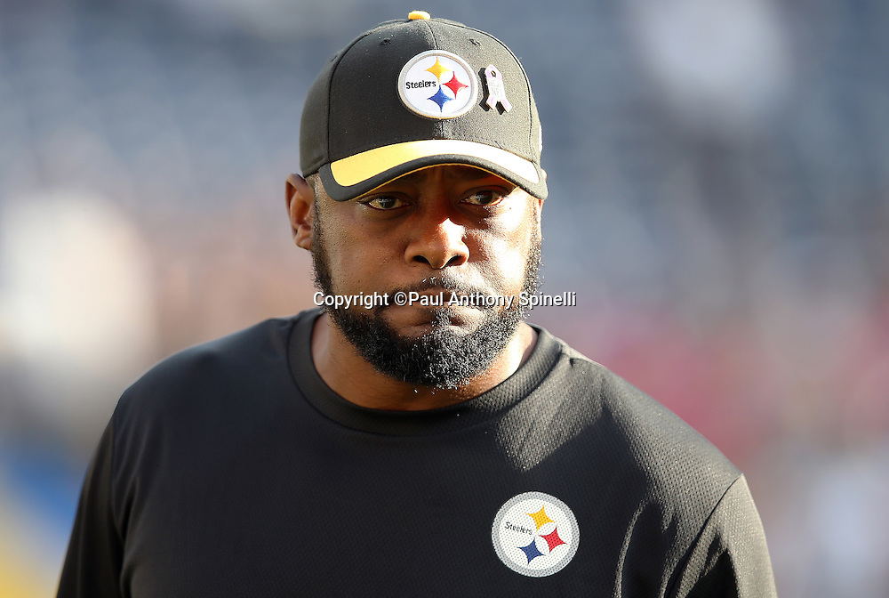 Pittsburgh Steelers head coach Mike Tomlin calls out from the sideline during the 2015 NFL week 5 regular season football game against the San Diego Chargers on Monday, Oct. 12, 2015 in San Diego. The Steelers won the game 24-20. (©Paul Anthony Spinelli)