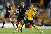 Annalie Longo looks to get through the defence of Tameka Butt during the Cup of Nations Women's Football match, New Zealand Football Ferns v Matildas, Leichhardt Oval, Thursday 28th Feb 2019. Copyright Photo: David Neilson / www.photosport.nz