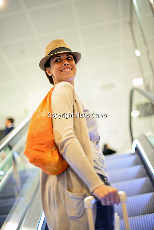 Attractive young woman in airport
