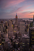USA, New York:  A selection of pictures from the last week.<br /> A view of Manhattan, including the Empire State Building, from the observation deck of the Rockefeller Centre, New York City during sunset . Rick Findler / Story Picture Agency
