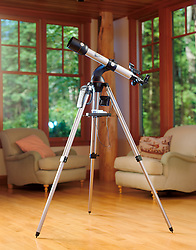Modern telescope in living room