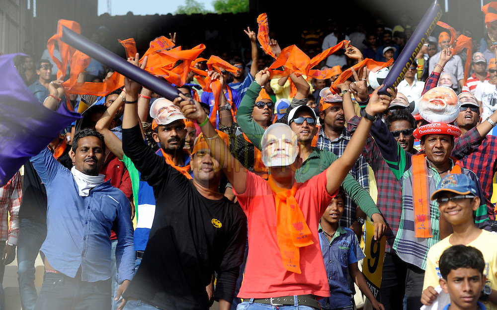 Fan's Enjoys during match 25 of the Pepsi Indian Premier League Season 2014 between the Rajasthan Royals and the Kolkata Knight Riders held at the Sardar Patel Stadium, Ahmedabad, India on the 5th May  2014<br /> <br /> Photo by Sandeep Shetty / IPL / SPORTZPICS      <br /> <br /> <br /> <br /> Image use subject to terms and conditions which can be found here:  http://sportzpics.photoshelter.com/gallery/Pepsi-IPL-Image-terms-and-conditions/G00004VW1IVJ.gB0/C0000TScjhBM6ikg