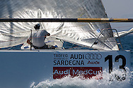 Rusal-Synergy prepare to set the Spinnaker during the Practice race of the AUDI Medcup in Caglairi