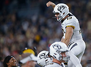 WEST LAFAYETTE, IN - SEPTEMBER 15: Tucker McCann #19 of the Missouri Tigers celebrates after making the game winning field goal against the Purdue Boilermakers at Ross-Ade Stadium on September 15, 2018 in West Lafayette, Indiana. (Photo by Michael Hickey/Getty Images) *** Local Caption *** Tucker McCann NCAA Football - Purdue Boilermakers vs Missouri Tigers at Ross-Ade Stadium in West Lafayette, Indiana. Sports photographer by Michael Hickey