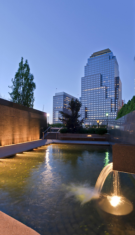 Police Memorial, honors NYPD officers killed in the line of duty. Dedicated on Oct. 20, 1997, Battery Park City, Manhattan, New York City, New York, USA, designed by Stuart Crawford