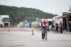 Clara Koppenburg (GER) of Cylance Pro Cycling approaches the finish line during the prologue of the Ladies Tour of Norway - a 3.4 km time trial, starting and finishing in Halden on August 17, 2017, in Ostfold, Norway. (Photo by Balint Hamvas/Velofocus.com)