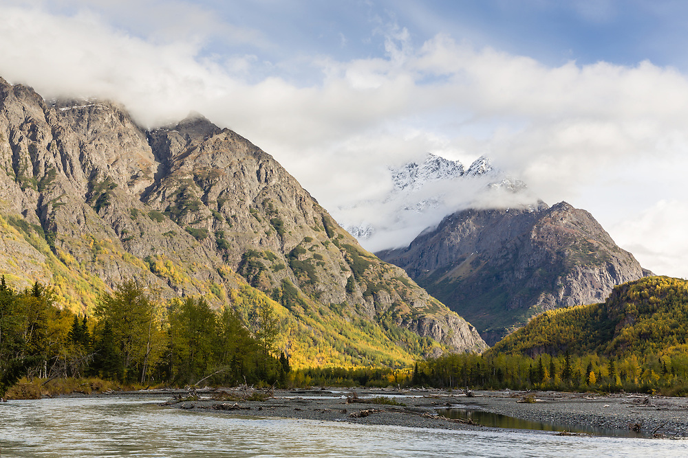 Mt. Kiliak and Mt.Yukla from Echo Bend in Chugach State Park in Southcentral Alaska. Autumn. Afternoon.